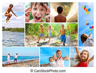 colagem, verão, infancia, feliz