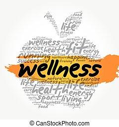 colagem, wellness, palavra, maçã, nuvem
