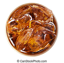 Coland ice in glass on the white background