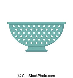 Colander dish cartoon icon. Kitchen tool, cookware and kitchenware vector illustration