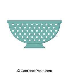Colander dish cartoon icon. Kitchen tool, cookware and kitchenware vector illustration