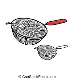 Colander - Vector illustration : Colander on a white...