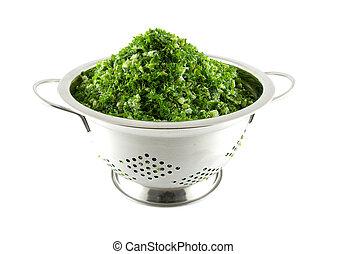 colander with fresh kale