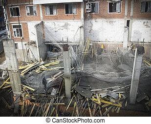 colapso, acidente, em, um, local construção