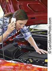colapso, ajuda, após, telefonando, motorista, femininas