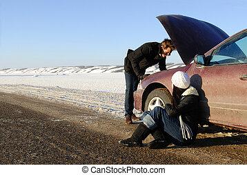 colapso, car, inverno