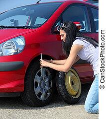 colapso, mulher carro, pneu