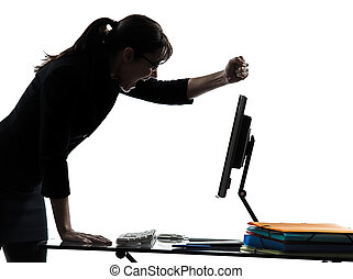 colapso, mulher, silueta, negócio, fracasso, computador