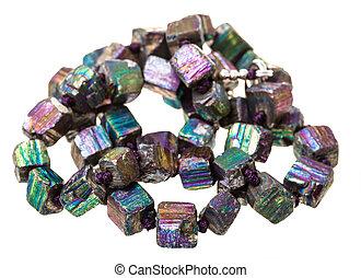 colar, arco íris, contas, entrelaçado,  pyrite
