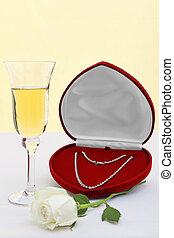 colar, branca, diamante, rose., champanhe