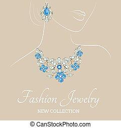 colar, brincos, mulher, jóia