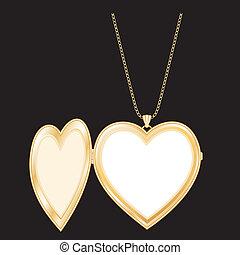 colar, coração, ouro, locket, corrente