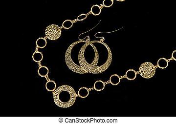 colar, +, luxo, earing
