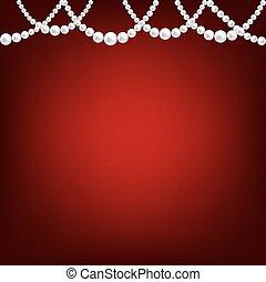 colar, pérola, vermelho