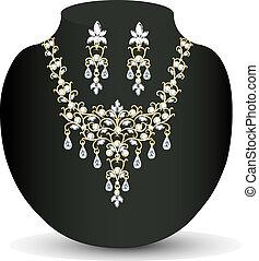 colar, womens, diamante, brincos, casório