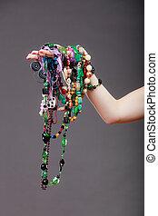 colares, mulher, closeup, jóia, beads.