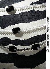 colares, sobre, pretas, branca, zebra, fundo