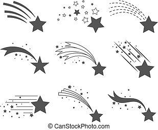 colas, estrellas, disparando, iconos