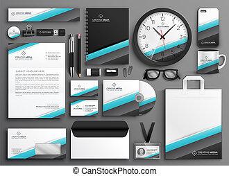 colateral, conjunto, empresa / negocio, marca, papelería, su