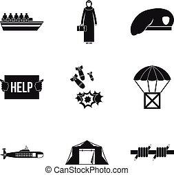 colateral, estilo, iconos, conjunto, daño, simple