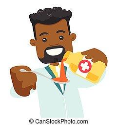 colatura, farmacista, spoon., africano, sciroppo tosse