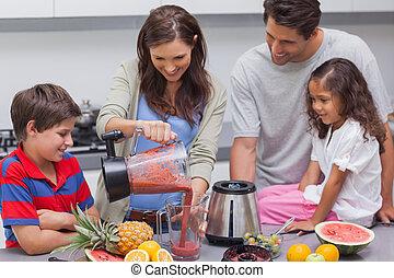 colatura, frutta, frullatore, donna, famiglia