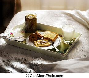 colazione, 3, letto, &
