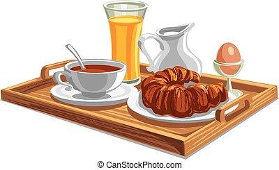 colazione, albergo, vassoio