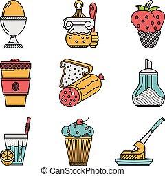 colazione, colorato, appartamento, icone, vettore, collezione