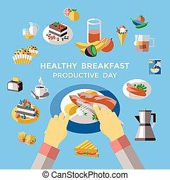 colazione, colorato, composizione