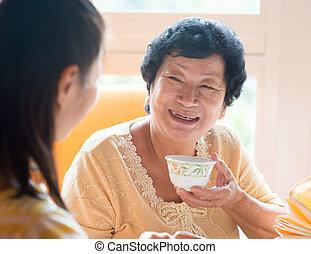 colazione, detenere, famiglia asiatica, cinese