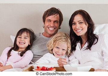 colazione, detenere, insieme, famiglia