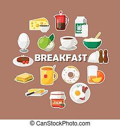 colazione, icone, set