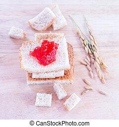 colazione, marmellata, bread