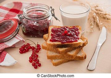 colazione, marmellata, latte, bread