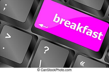 colazione, parola, su, tastiera computer, key., laptop