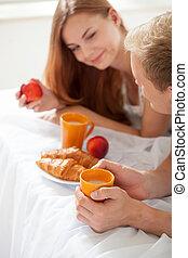 colazione sana, letto