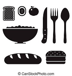 colazione sana, set, icona
