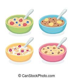 colazione, set, ciotola