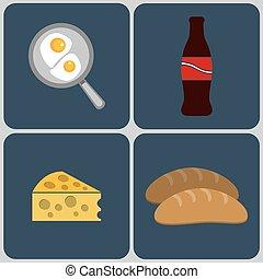 colazione, set, classico, icona, inglese
