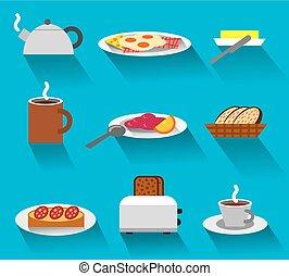colazione, set, icona