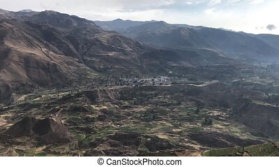 Colca river canyon terraces - landscape with ancient farming...