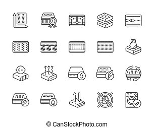 colchón, cremallera, conjunto, material, icons., anti,...
