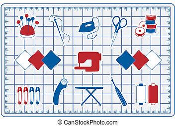 colcha, ícones, patchwork, cosendo, tapete