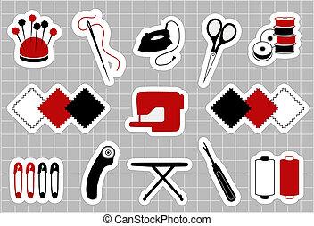 colcha, adesivos, patchwork, cosendo