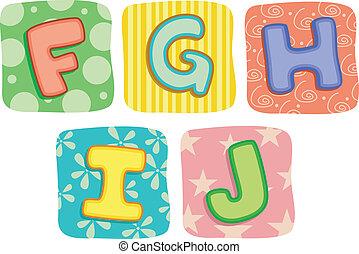 colcha, alfabeto, cartas, f, g, h, yo, j