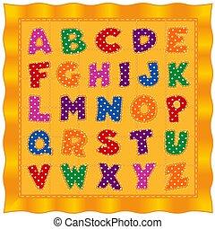 colcha, oro, alfabeto, polca, cartas, brillante, plano de fondo, bebé, punto