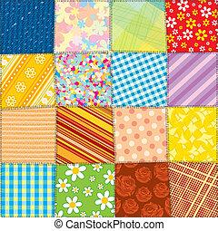 colcha, patchwork, padrão, seamless, vetorial, texture.
