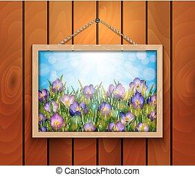 colchique, fleurs, dans, cadre graphique, sur, mur bois