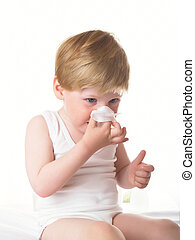 Cold and cold - Small boy wipes a nose a napkin